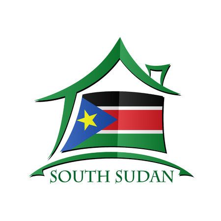 south sudan: House icon made from the flag of South Sudan