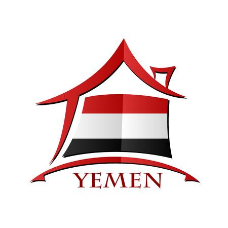 yemen: House icon made from the flag of  Yemen