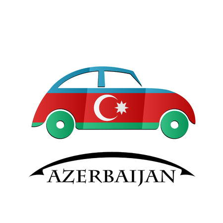 car icon made from the flag of Azerbaijan Illustration