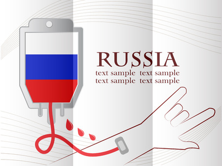 made russia: blood donation design made from the flag of  Russia, conceptual vector illustration.