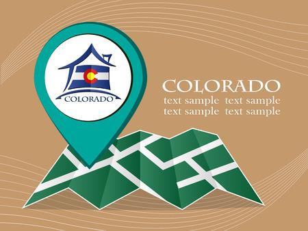 flag of colorado: map with pointer flag Colorado vector illustration