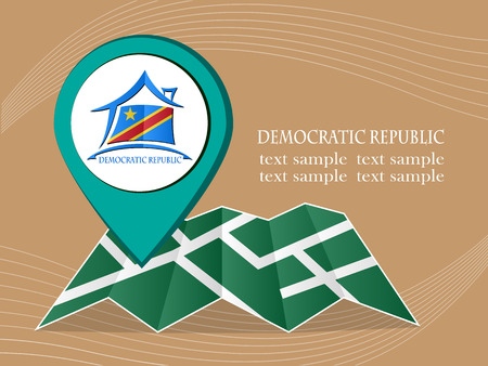 democratic: map with pointer flag Democratic Republic vector illustration eps 10.