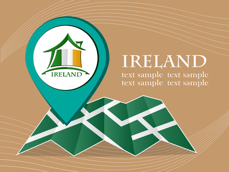 ireland cities: map with pointer flag Ireland vector illustration Illustration