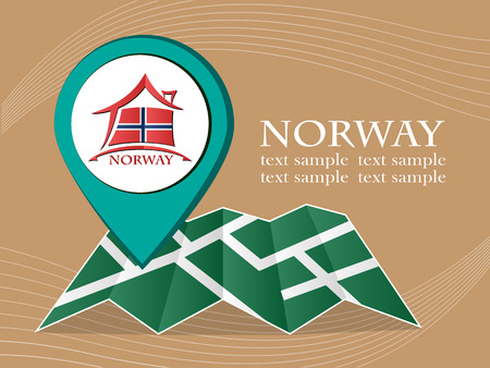 norway flag: map with pointer flag Norway vector illustration Illustration