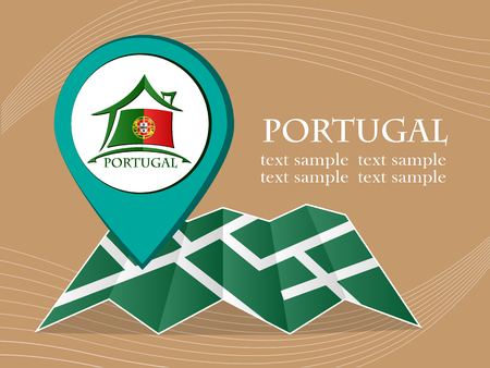 bandera de portugal: map with pointer flag Portugal vector illustration