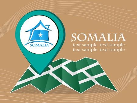 somalia: map with pointer flag Somalia vector illustration