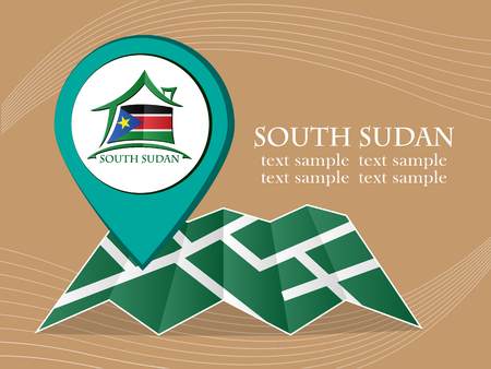 south sudan: map with pointer flag South Sudan vector illustration