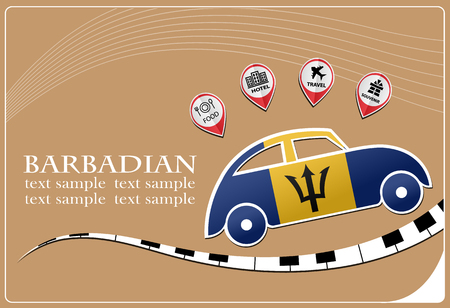 car icon made from the flag of Barbadian