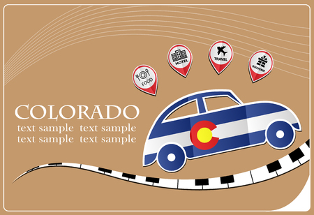 car icon made from the flag of Colorado