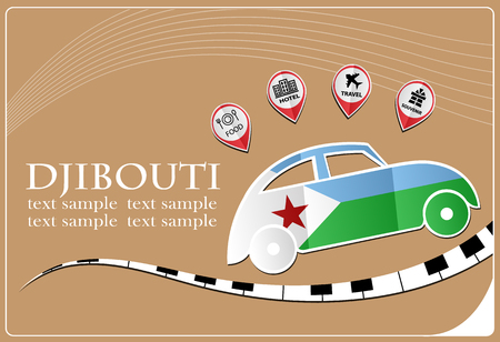 djibouti: car icon made from the flag of Djibouti