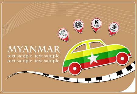 car icon made from the flag of Myanmar Illustration