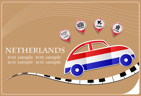 map of netherlands: car icon made from the flag of Netherlands Illustration
