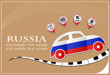 car icon made from the flag of Russia