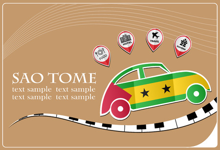 car icon made from the flag of Sao Tome