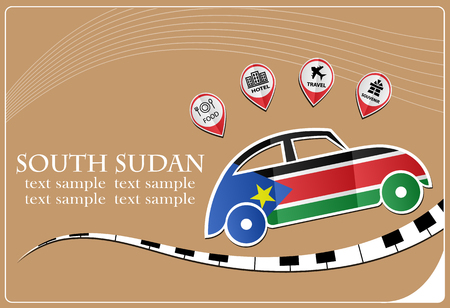 car icon made from the flag of South Sudan Illustration