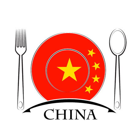 Food  logo made from the flag of China Illustration