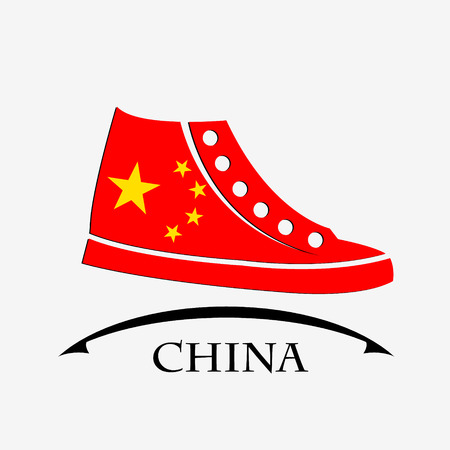shoes icon made from the flag of China