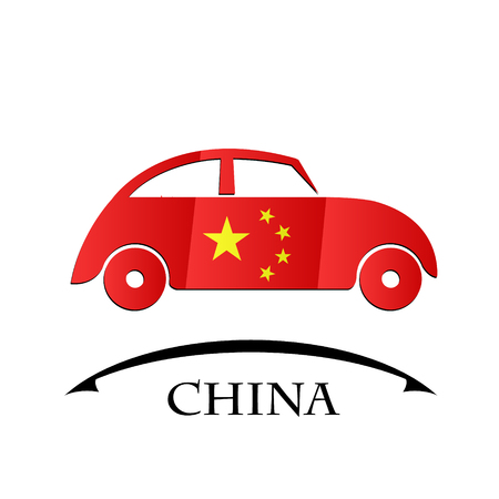 car icon made from the flag of China