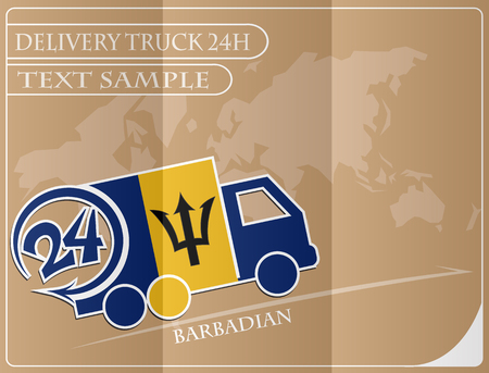 Delivery truck 24h concept made from the flag of Barbadian, conceptual vector illustration Illustration