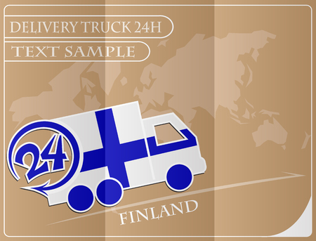 made in finland: Delivery truck 24h concept made from the flag of Finland, conceptual vector illustration Illustration