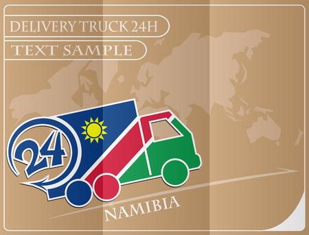 Bezorgwagen 24h concept gemaakt van de vlag van Namibië, conceptuele vector illustratie