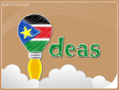 Idea concept  made from the flag of South Sudan, conceptual vector illustration