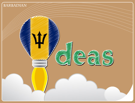 Idea concept  made from the flag of Barbadian, conceptual vector illustration