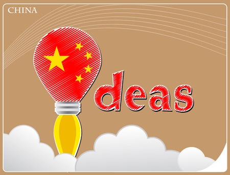 Idea concept  made from the flag of China, conceptual vector illustration
