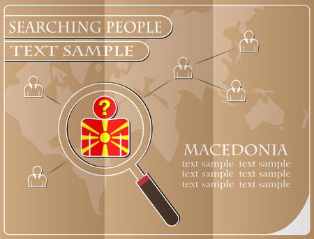 Symbol auf der Suche nach Menschen aus der Flagge von Mazedonien, Vektor-Illustration gemacht