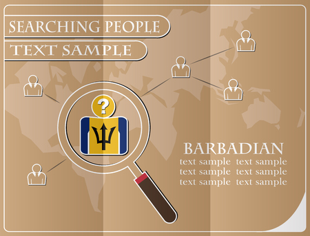 Icon in search of people made from the flag of Barbadian, vector illustration