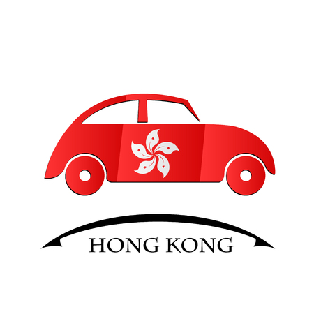 car icon made from the flag of Hong Kong Illustration