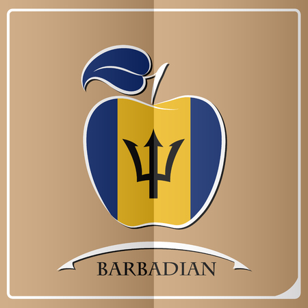 apple logo made from the flag of Barbadian