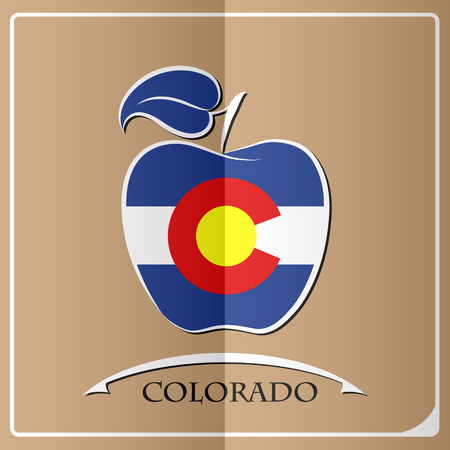 apple logo made from the flag of Colorado