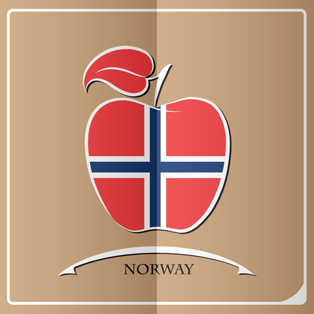 norway flag: apple logo made from the flag of Norway Illustration