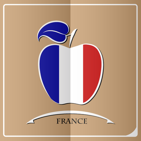 Apple logo made from the flag of France. Illustration