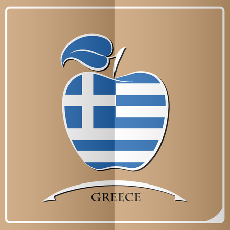 Apple logo made from the flag of Greece.