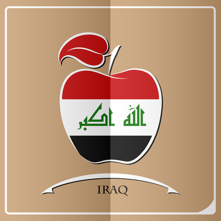 Apple logo made from the flag of Iraq. Illustration