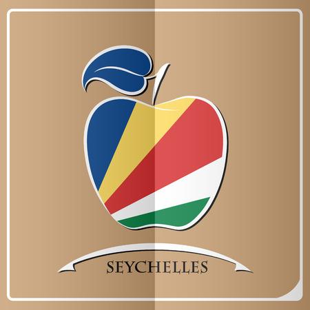 apple logo made from the flag of Seychelles Иллюстрация