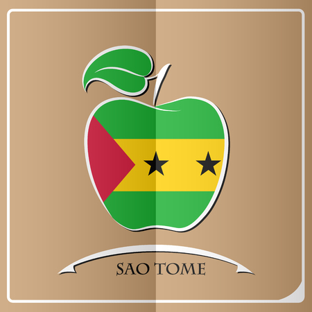 apple logo made from the flag of Sao Tome Illustration