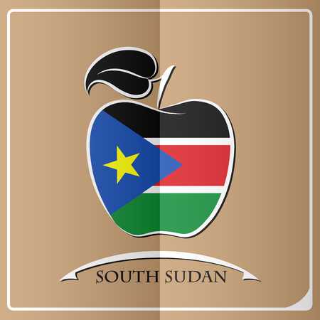 apple logo made from the flag of South Sudan Illustration