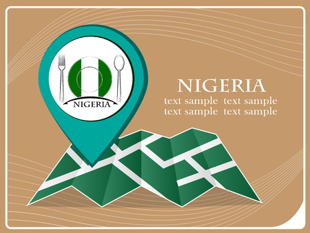map with pointer food Nigeria, vector illustration. Illustration