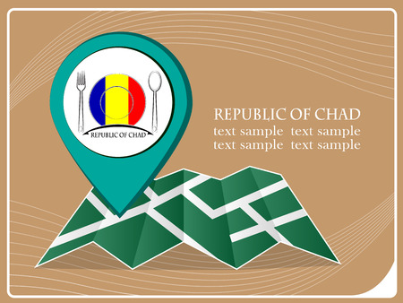 map with pointer food Republic of Chad, vector illustration.