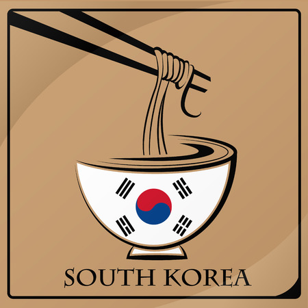 noodle logo made from the flag of South Korea Illustration