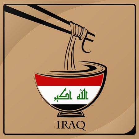 noodle logo made from the flag of Iraq Illustration