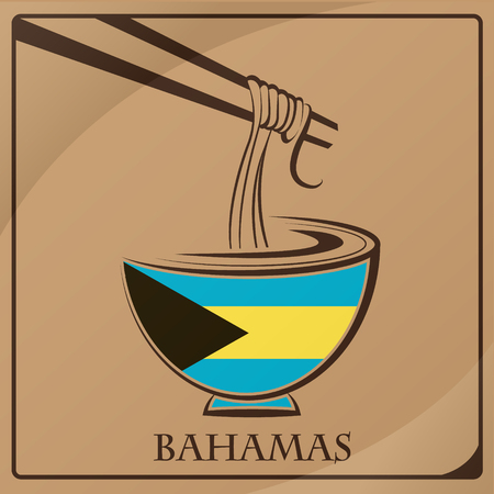 noodle logo made from the flag of Bahamas