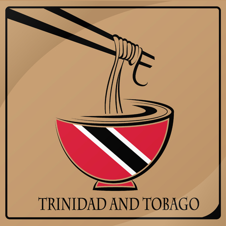 noodle logo made from the flag of Trinidad and Tobago Illustration