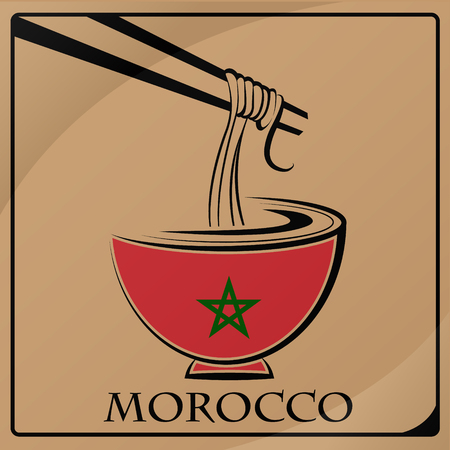 noodle logo made from the flag of Morocco 向量圖像