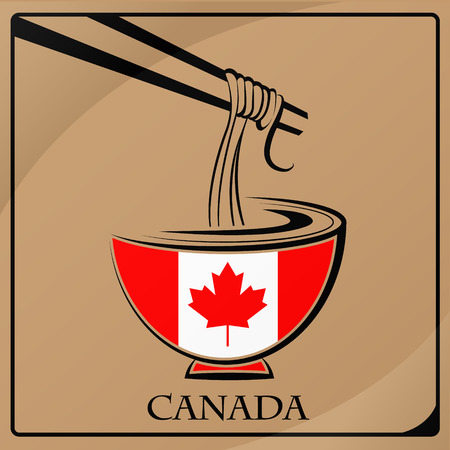 noodle logo made from the flag of Canada