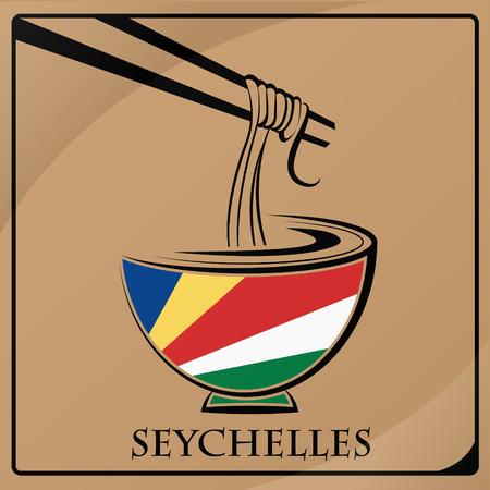 セイシェルの旗から作られた麺ロゴ
