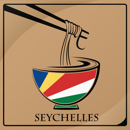 noodle logo made from the flag of Seychelles